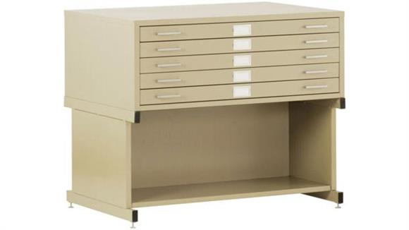 "Flat File Cabinets Sandusky Lee 56""W  5 Drawer Flat File with Open Base"