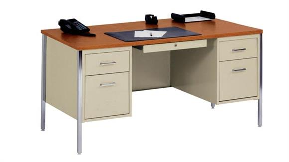 "Steel & Metal Desks Sandusky Lee 60"" x 30"" Double Pedestal Steel Desk"