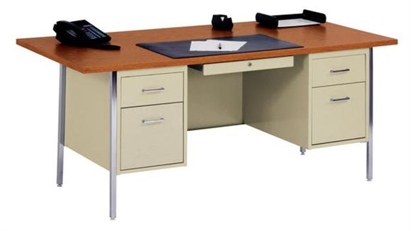 "Steel & Metal Desks Sandusky Lee 72"" x 36"" Double Pedestal Steel Desk"