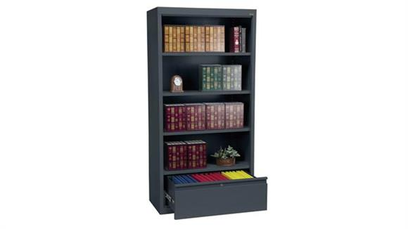 "Bookcases Sandusky Lee 36""W x 18""D x 72""H  Bookcase with File Drawer"