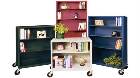 "Bookcases Sandusky Lee 36""W x 18""D x 36""H  Steel Mobile Bookcase"