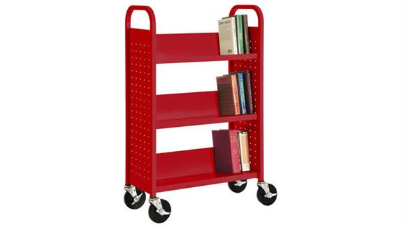"Book & Library Carts Sandusky Lee 27""W  Single Sided Sloped Shelf Booktruck"