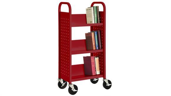 "Book & Library Carts Sandusky Lee 17""W  Single Sided Sloped Shelf Booktruck"