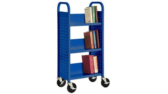 "Book & Library Carts Sandusky Lee 17""W  Single Sided Sloped Shelf Booktruck"