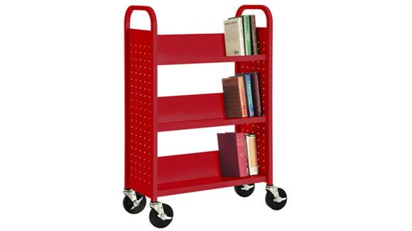"Book & Library Carts Sandusky Lee 31""W Single Sided Sloped Shelf Booktruck"