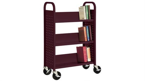 "Book & Library Carts Sandusky Lee 31""W  Single Sided Sloped Shelf Booktruck"