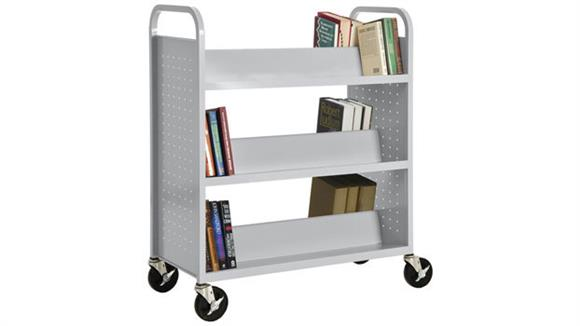 Book & Library Carts Sandusky Lee Double Sided Sloped Shelf Booktruck