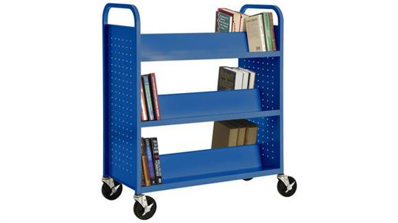 Book & Library Carts Sandusky Lee Double Sided Sloped Shelf Booktruck