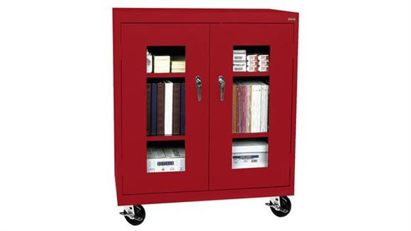 "Storage Cabinets Sandusky Lee 36""W x 18""D x 48""H  Mobile Clear View Counter Height Cabinet"