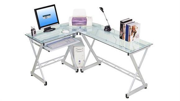 L Shaped Desks Techni Mobili Glass L Shaped Computer Desk