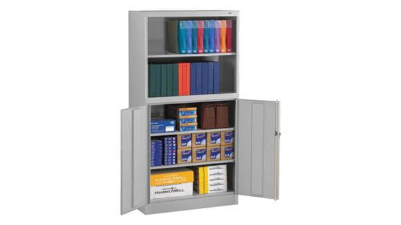 "Storage Cabinets Tennsco 72""H Welded Storage Cabinet/Bookcase Combo Unit"