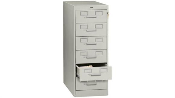 File Cabinets Vertical Tennsco 6 Drawer Card File