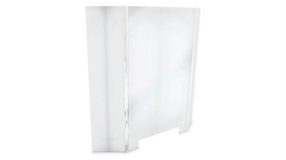 """Covid19 Office Sneeze Guards United Visual 68"""" W x 32""""H Three Unframed Panel Desk Barrier with Access Hole"""