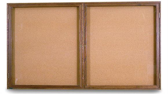 "Bulletin & Display Boards United Visual 42"" x 32"" Oak Indoor Enclosed Corkboard"