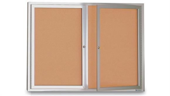 "Bulletin & Display Boards United Visual 42"" x 32"" Indoor Enclosed Corkboard"