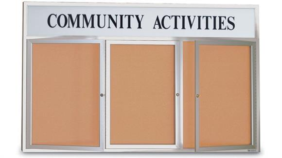 "Bulletin & Display Boards United Visual 96"" x 48"" Indoor Enclosed Corkboard with Header"