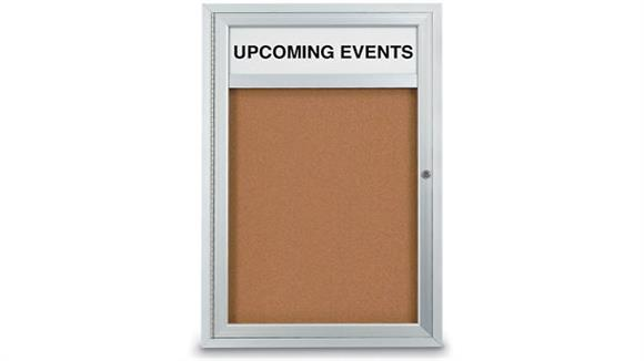 "Bulletin & Display Boards United Visual 24"" X 36"" Indoor Enclosed Corkboard with Header"