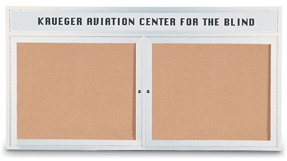 "Bulletin & Display Boards United Visual 60"" x 36"" Indoor Enclosed Corkboard with Header"