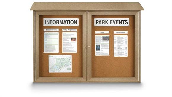 "Bulletin & Display Boards United Visual 45"" x 30"" Double Door Message Center"