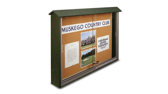"Bulletin & Display Boards United Visual 45"" x 36"" Sliding Door Message Center"