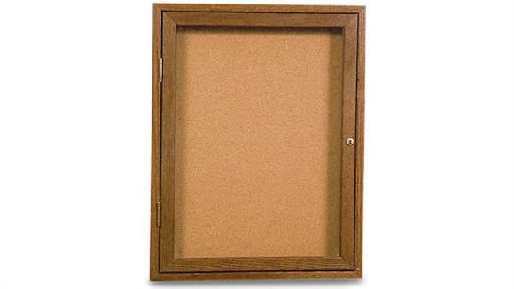 "Bulletin & Display Boards United Visual 18"" x 24"" Oak Indoor Enclosed Corkboard"