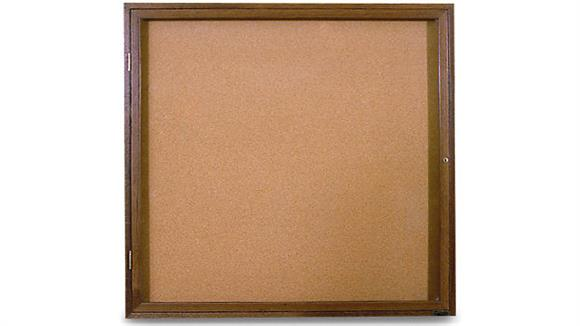 "Bulletin & Display Boards United Visual 36"" x 36"" Oak Indoor Enclosed Corkboard"