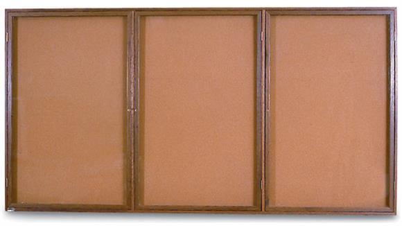 "Bulletin & Display Boards United Visual 72"" x 36"" 3 Door Oak Indoor Corkboard"