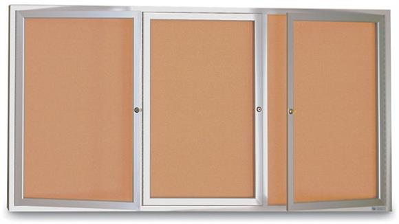 "Bulletin & Display Boards United Visual 72"" x 36"" 3 Door Indoor Enclosed Corkboard"