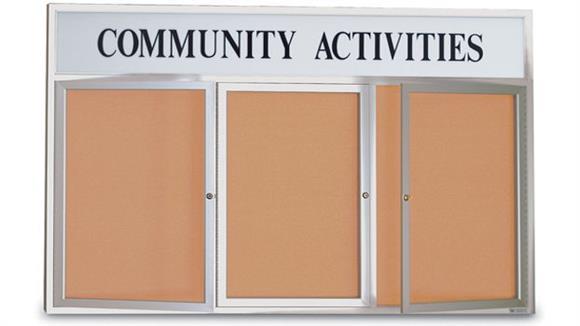 "Bulletin & Display Boards United Visual 96"" x 48"" Indoor Enclosed Corkboard with Header"