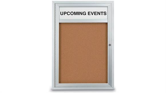 "Bulletin & Display Boards United Visual 24"" X 36"" Indoor Enclosed Corkboard with Header"
