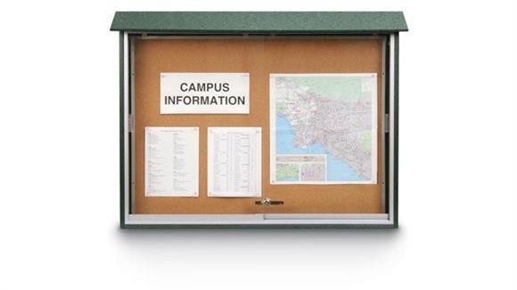 "Bulletin & Display Boards United Visual 45"" x 30"" Sliding Door Message Center"