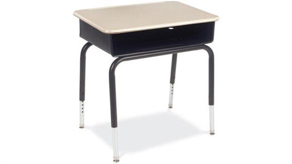 School Desks Virco Open Front Student Desk with Metal Book Box and Plastic Top