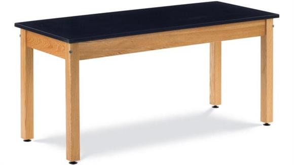 "Science & Lab Tables Virco 60"" x 24"" Oak Science Table with Epoxy Resin Top"