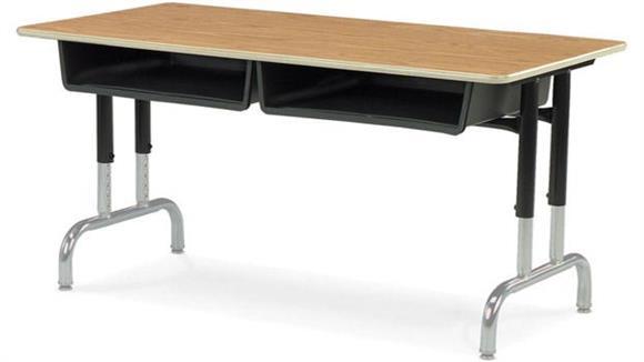 """School Desks Virco 48""""W Adjustable Height Student Desk"""