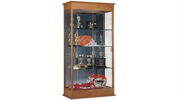 Display Cabinets Waddell Display Cabinet with Sliding Doors and Mirror Back