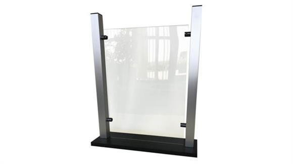 "Covid19 Office Sneeze Guards Waddell Countertop Protective Plastic Shield with Aluminum Frame and 6""D Flat Base, 24""H x 19""W x 6""D"