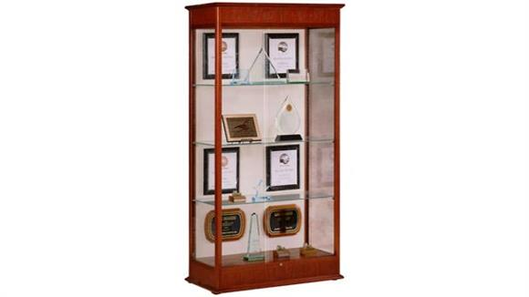 Display Cabinets Waddell Display Cabinet with Sliding Doors and Plaque Fabric Back