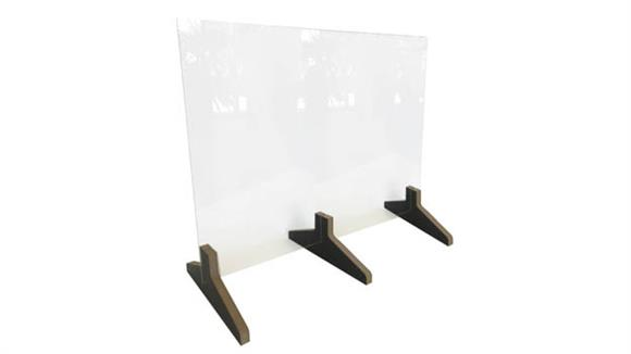 """Covid19 Office Sneeze Guards Waddell Countertop Protective Plastic Shield with No Frame and 12""""D 3-piece Wood Base, 24""""H x 30""""W x 12""""D"""
