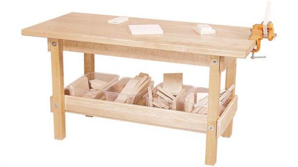 Activity Tables Wood Designs Workbench with Trays & Wood