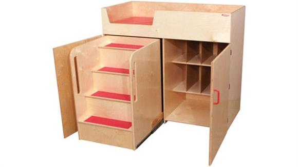 Changing Tables Wood Designs Deluxe Infant Care Center with Stairs