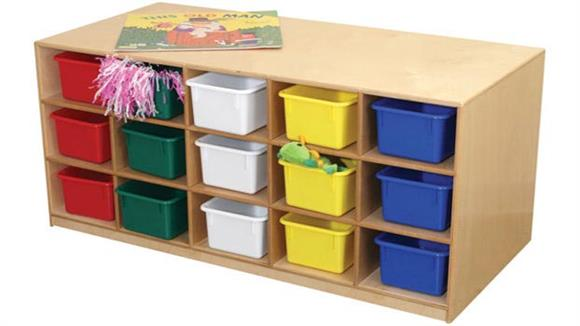 Storage Cubes & Cubbies Wood Designs 30 Tray Tot-Size Mobile Island