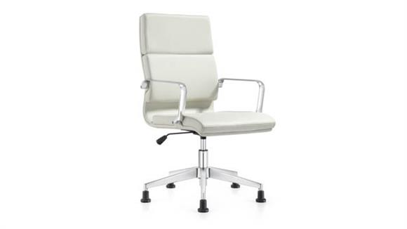 Office Chairs Woodstock Leather Swivel Side Chair with Glides