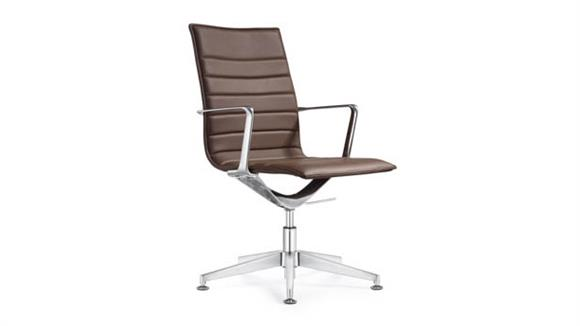 Side & Guest Chairs Woodstock Leather Side Swivel Chair with Glides