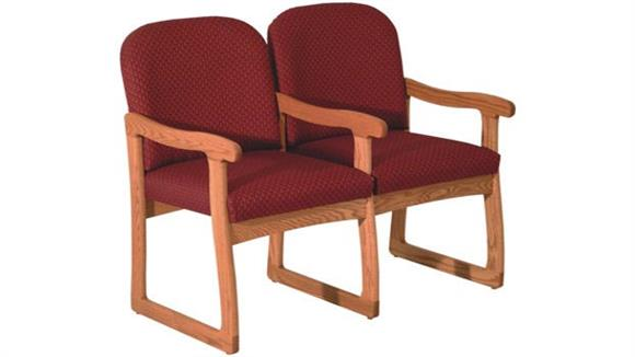 Side & Guest Chairs Wooden Mallet Double Sled Base Sofa with Arms