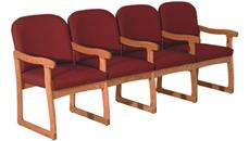 Side & Guest Chairs Wooden Mallet Quadruple Sled Base Sofa with Arms