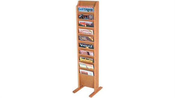 Magazine & Literature Storage Wooden Mallet 10 Pocket Oak Magazine Floor Rack