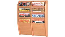 Magazine & Literature Storage Wooden Mallet 8 Pocket Oak Magazine Wall Rack