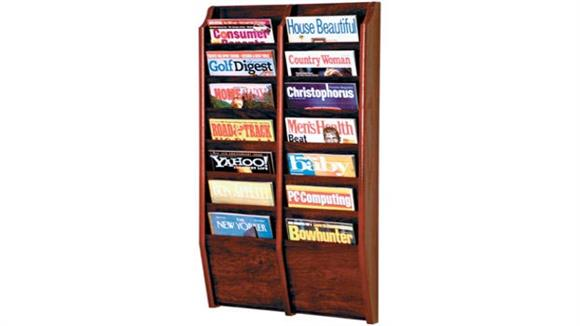 Magazine & Literature Storage Wooden Mallet 14 Pocket Oak Magazine Wall Rack