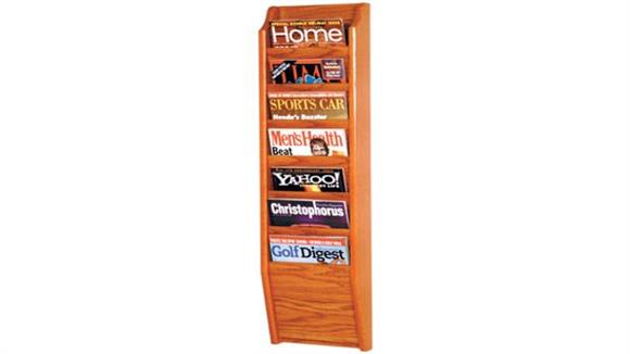 Magazine & Literature Storage Wooden Mallet 7 Pocket Oak Magazine Wall Rack
