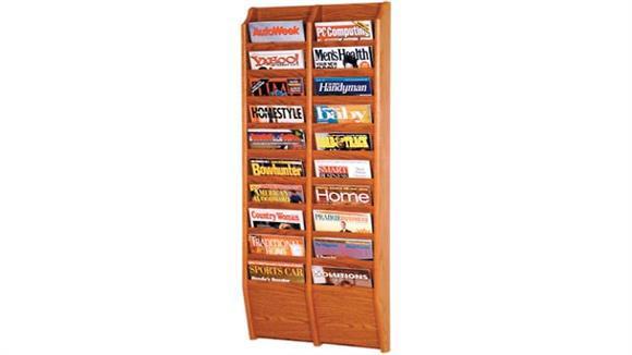 Magazine & Literature Storage Wooden Mallet 20 Pocket Oak Magazine Wall Rack